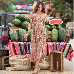 Sundance Faye Floral Ruffle Boho Maxi Dress 2 XS
